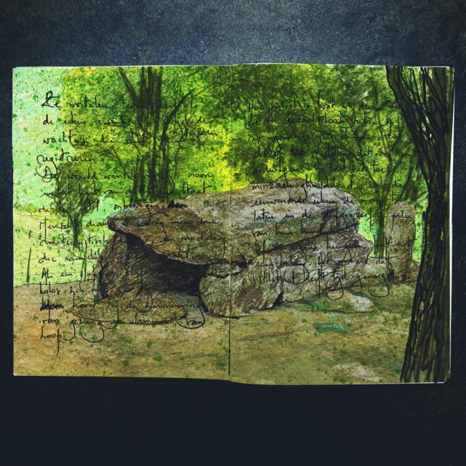 hard van steen schets ingekleurd klein